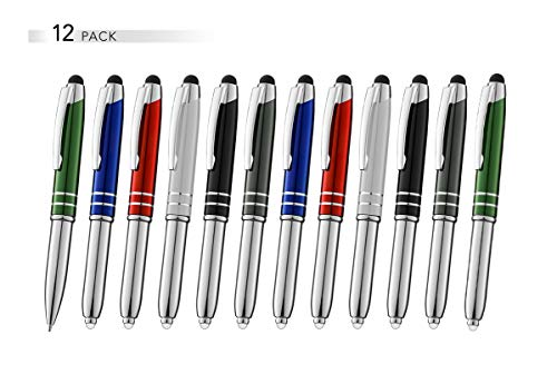 Stylus Pen for Touchscreen Devices, Tablets, iPads, iPhones, Multi-Function Capacitive Pen with LED Flashlight, Ballpoint Ink Pen, 3-in-1 Metal Pen, Multi, 12PK