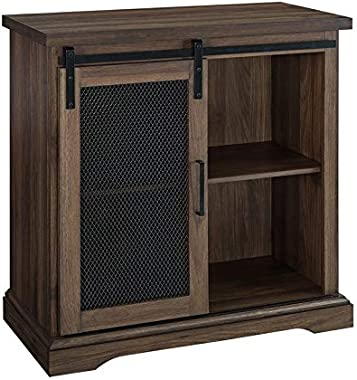 "Pemberly Row Farmhouse Mesh Sliding Barn Door 32"" Wood Home Coffee Station Accent Chest Buffet Storage Cabinet in Dark Wa"