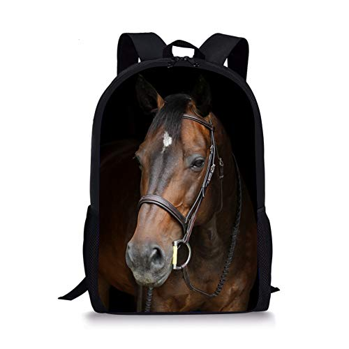Unisex School Backpack Large Capacity 3D Vivid Animal Face Print Polyester Backpack (Brown Horse)