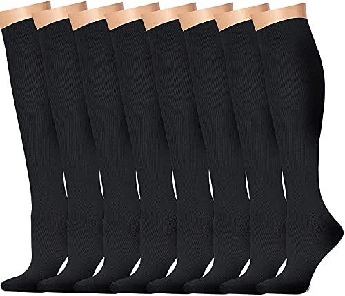 6 Paires Chaussettes de Compression pour Hommes et Femmes (15-20 mmHg)-pour Sportifs,Voyage en Avion,infirmiers,course,Enceintes,Entraînement,Exercice,Fitness(Grand/Très Grand,Noir)