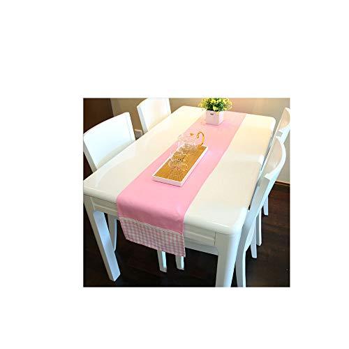 MONTANCHEZZ Camino de Mesa con Estilo Elegante y Moderno, Lujoso Liso y Extremos de Cuadros, Duradero y Lavable 180 x 32cm (Rosa)