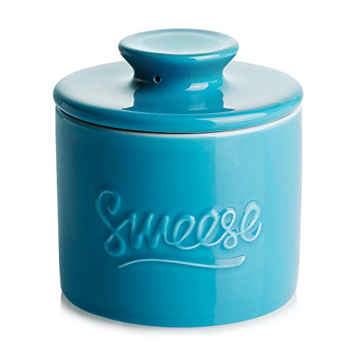 Sweese 304107 Porcelain Butter Keeper Crock  French Butter Dish  No More Hard Butter  Perfect Spreadable Consistency Steel Blue
