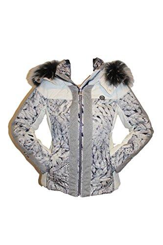 Sportalm Kitzbühel Damen Skijacke Jacke BELY mit Echtfell Größe 42 XL Weiß Grau