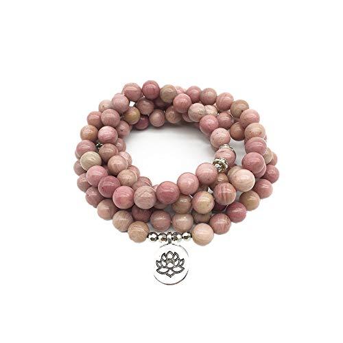 Neue Frauen Yoga Armband 108 Mala Rhodonite Balance Armband Schlichtes Design Heilung Spirituelles Geschenk