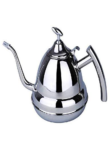 Cafetera de acero inoxidable pulido avanzado, hecha a mano europea, 10 tazas, con anillo cóncavo y resistente al calor, hervidor de agua 1200 ml, color plateado