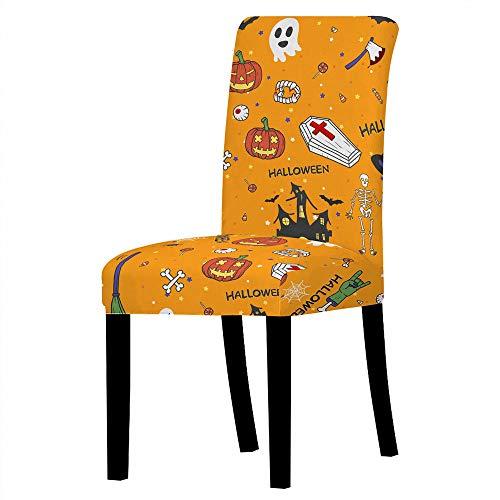 GVJKCZ Fundas para sillas,Calavera de Calabaza de Halloween roja Amarilla sillas Elásticas y Modernas Funda Asiento...