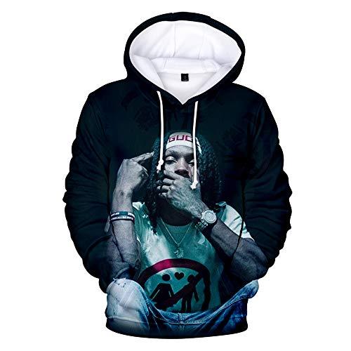 3D Printed King Von Hoodie Rip Rapper Merch King Von Hoodie OTF O Block Pullover Sweatshirt Tracksuit for Kids Men Women (King Von27,S)