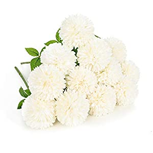 Floweroyal 12pcs Artificial Chrysanthemum Ball Flowers Silk Hydrangea Bridal Wedding Bouquet for Home Garden Party Office Coffee House Decoration (Milk White).