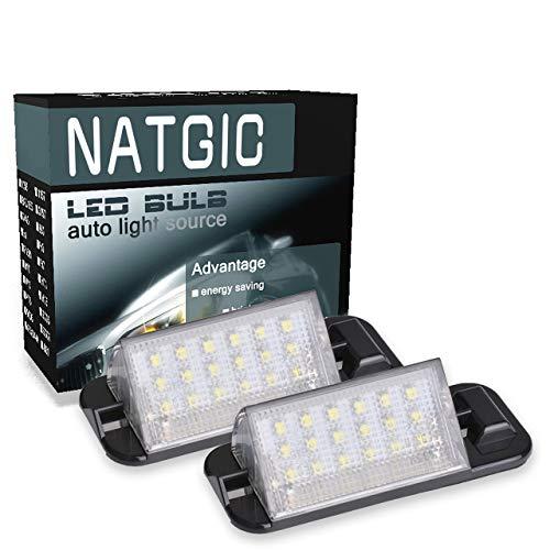 NATGIC 1 Paire LED Plaque d'immatriculation Lumière 18SMD Intégré Can-Bus étanche Numéro LED Plaque d'immatriculation Lampe Assemblée 12V 2W - 6000K Blanc