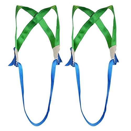 2 x Möbeltrage-Kreuzgurt mit separatem Gurtband, Tragegurt, Transportgurt, grün/blau - Profi Qualität