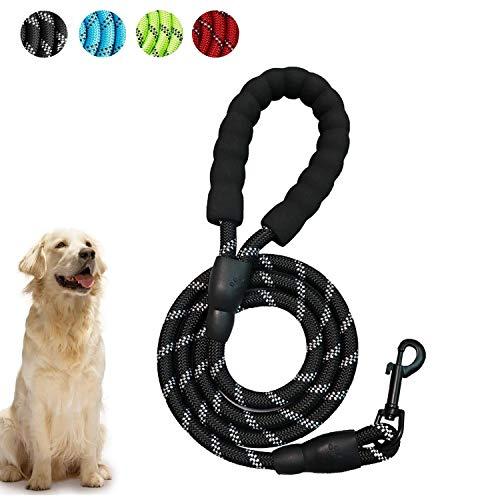 WELLXUNK Hunde Leine Seil, 5 FT Hunde Schleppleine, Hunde Reflektierende Leine, Ruckdämpfer mit Bequemen Gepolsterten Griff, Trainingsleine für Sicherheit Nachts, eignet für Alle Größe Hunde(Schwarz)