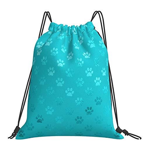 Nicegift Mochila con cordón verde azulado Aqua Blue Turquesa Pata de perro Deportes Fitness Ocio al aire libre