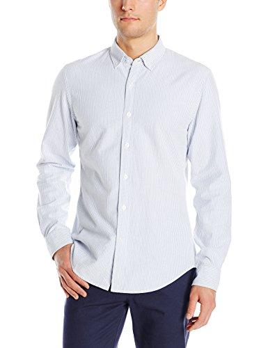Goodthreads Men's Slim-Fit Long-Sleeve Striped Oxford Shirt, Blue/White, Medium