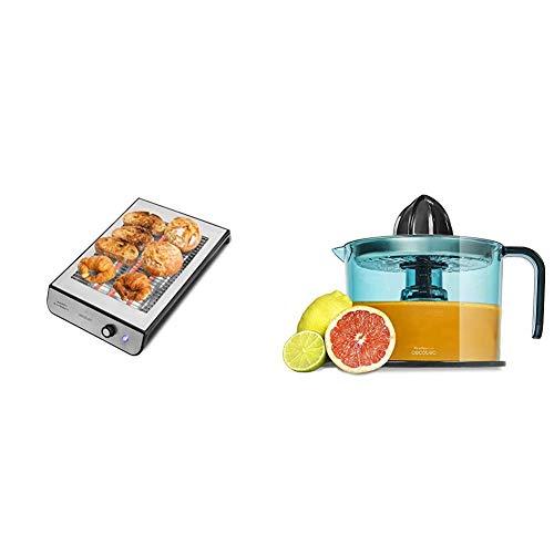 Cecotec Tostador Plano Horizontal Turbo Easy Toast Inox. 3 Resistencias de Cuarzo, 6 Niveles de Potencia + Zitrus Easy Inox - Exprimidor Eléctrico, Filtro de Acero Inoxidable, Tambor de 1 Litro