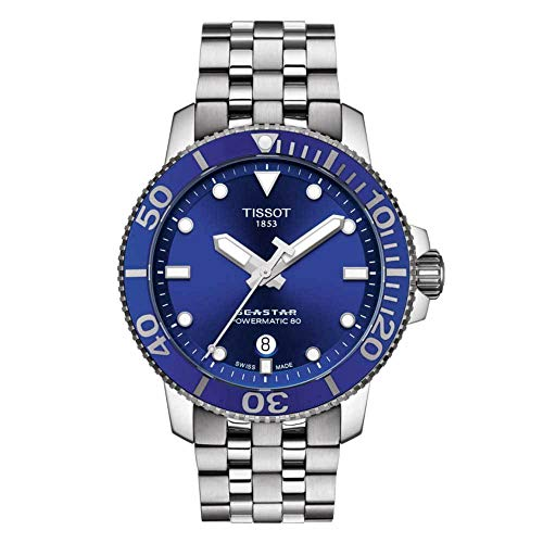 Tissot Relógio masculino casual Seastar 660/1000 de aço inoxidável cinza T1204071104100