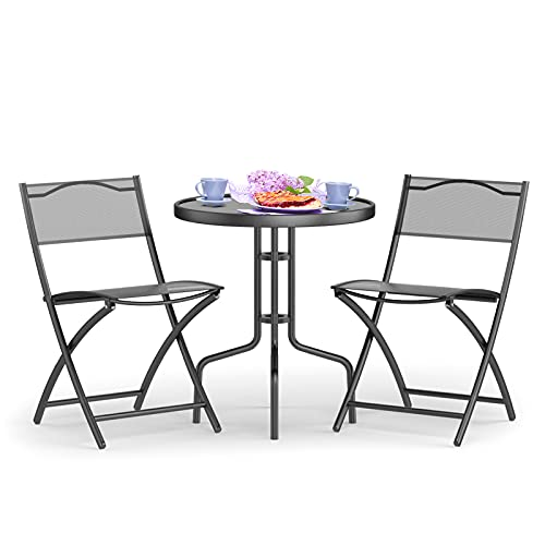 COSTWAY 3PCS Garden Table Chairs, Patio Tempered Glass Round Table and 2 Folding Chairs, Outdoor Indoor Metal Dining Furniture Set for Home Yard Balcony