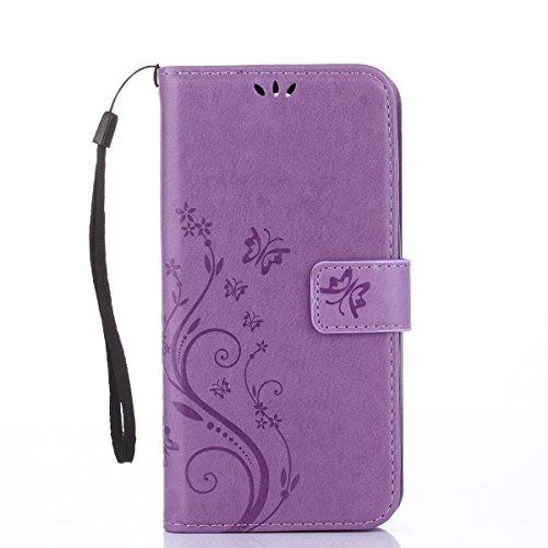 Alfort LG K4 Hülle, LG K4 Schutzhülle, Lederhülle PU Leder Tasche Cover Wallet Hülle für LG K4 Smartphone Schmetterling (Lavendel)