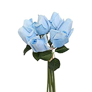Angel Isabella, LLC Real Touch Large Rosebud Bouquet -7 Stems per Bundle (Baby Blue)