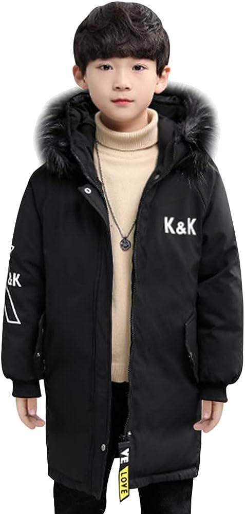 LSPAR Boys' Winter Coat Warm Waterproof Thicken Puffer Jacket Parka with Hood