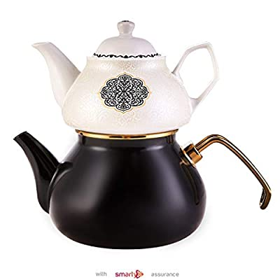 Porcelain Enamel Turkish Teapot - Nostalgic Retro Design Samovar Tea Kettle for Stove Top Caydanlik Small1.1 Lt (Black)