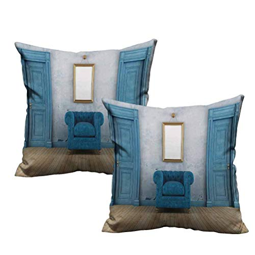 """2 Piece Square Throw Pillow Covers Set Empty Room with Two Doors Armchair and Simple Mirror with Golden Color Frame 26""""x26"""",Fit for Summer"""