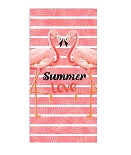 level25 Toalla Flamenco de Playa y Piscina. Original y Divertida. Tamaño 150 x 75 cm. Texto Summer Love. Rosa