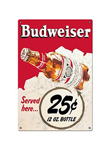 Asher Placa de metal nostálgica con diseño de Bud Beer Lager Bottle, placa de metal decorativa de pared de estilo retro de Beer Club, tamaño 20 x 30 cm