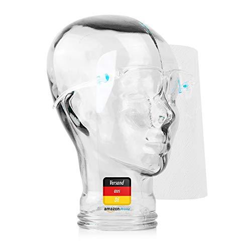 1 x Brille mit Visier als Gesichtsschutz, Unisex Gesichtsvisier für Erwachsene (Mundschutz)
