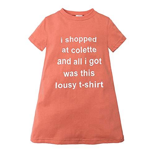 Janly Clearance Sale Vestido para niñas de 0 a 10 años de edad, vestido de princesa, camiseta casual, naranja, 4-5 años