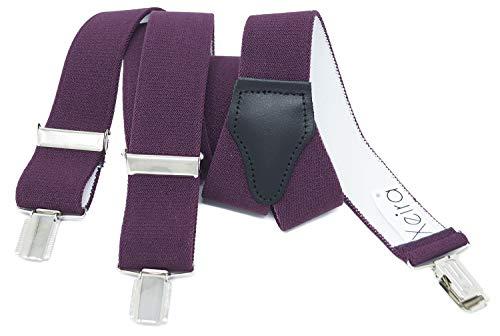 Xeira Hosenträger für Damen stabilen 3 Clips und echt Leder Rückenteil (110cm, Lila)