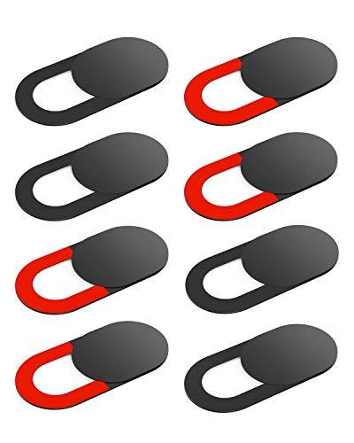 KIWI design Tapa Webcam 8 Piezas Cubierta Camara Portatil, Webcam Cover con un Paño Limpio para PC Mac iPhone Laptop iPad Smartphone (4 Negro, 2 Rojo)
