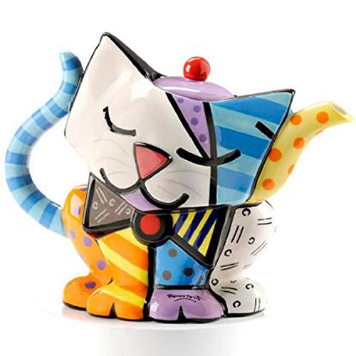 ROMERO BRITTO Teekanne Kaffeekanne Katze - Pop Art Kunst aus Miami
