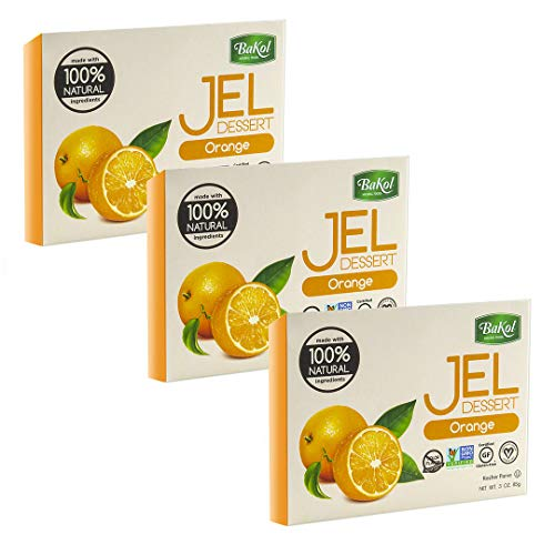 Bakol Jel Dessert - All Natural Vegan Dessert Mix - Kosher - Halal - No Artificial Sweeteners Flavors or Colors - Orange Flavor (PACK OF 3)