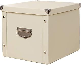 Jiutan収納ボックスふた付き 大容量 衣装ケース 折り畳み 取っ手 防水 ベージュ34*24cm