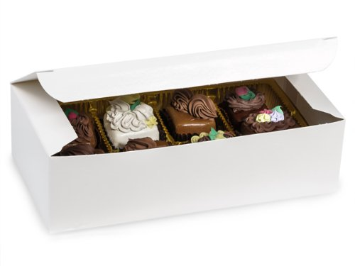 """Pack Of 100, White Gloss Candy Box Solid 1 Lb 7 X 3.5 X 2"""" 1 Pc Boxes Made In USA For Candy / Fine Chocolates & Fudge"""