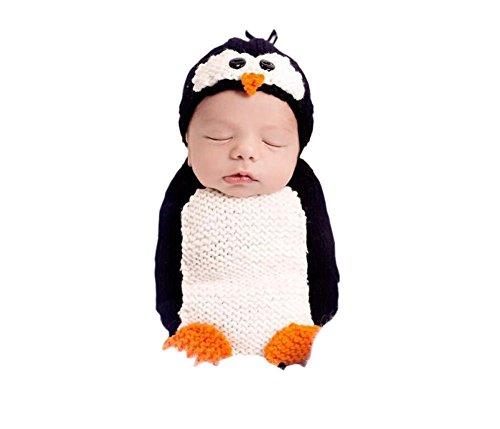 DELEY Baby Jungen Mädchen Häkeln Cosplay Pinguin Kostüm Niedlichen Baby-Kleidung Outfit Foto Requisiten 0-6 Monate