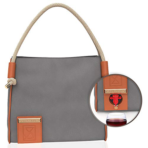Casual Wine Bag 7th & Swag (Grey) Beautifully made high-end wine tote has a thermal insulated & waterproof hidden compartment. Includes a reusable pouch.