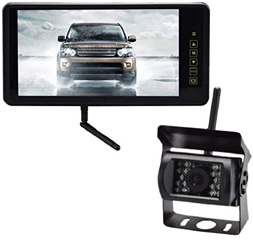 JX-SHOPPU ワイヤレス 9インチ LED液晶モニター & 18LED バックカメラ セット ルームミラー 防水 防塵 12V-24V車対応 無線 夜間暗視 車載 日本語対応
