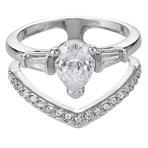 Buckley London Damen Ring Messing rhodiniert Kristall weiß 430070122