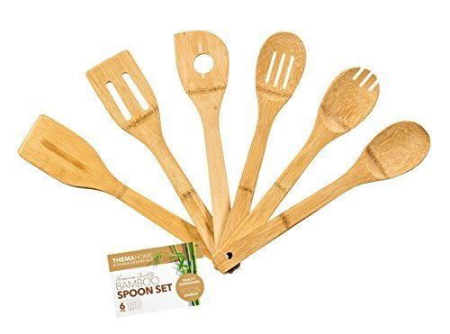 Wooden Spoon Set by Thema Home - 6 Piece Serving Utensil Set