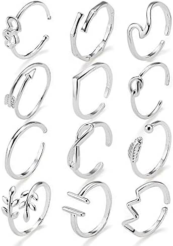 Adjustable Open Rings for Women Knot Arrow Heart Wave Infinity Rings Dainty Stackable Thumb product image