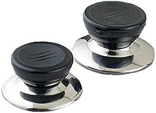 PZRT 2-Pack Universal Pot Lid Cover Knob Handle, Kitchen Cookware Replacement Pan Pot Handgrip Lid Knob Cap,Stainless Steel Base Circular Plastic Holding Knob Screw Handle