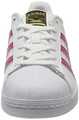 Adidas Superstar Foundation, Zapatillas Unisex Infantil, Blanco / Fucsia, 36 EU