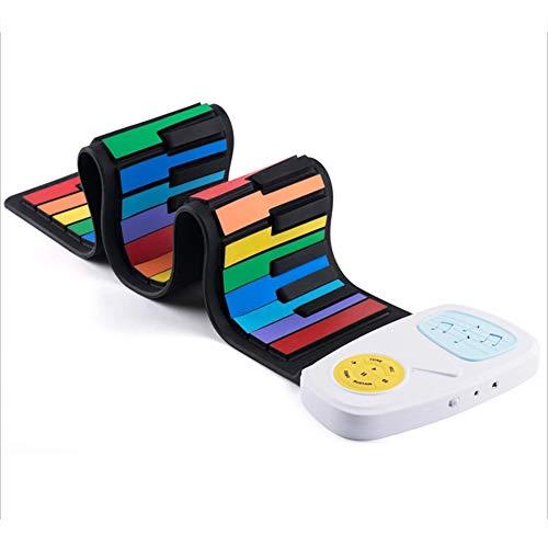 YZSL 49 Clave Roll Up Niños electrónica Digital del Teclado de Piano 8 Canciones Diferentes Tonos 6 Demo Educación y Construir en el Altavoz del Arco Iris W/Función de grabación