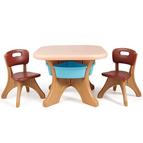 DREAMADE Set Tavolo e Sedie per Bambini, 1 Tavolino e 2 Sedie, Tavolo da Gioco Bambini con Contenitore Smontabile, Set di Mobili Colorato per Bambini con Carico di 80kg, Montaggio Semplice (Marrone)