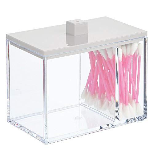 mDesign Organizador de maquillaje con dos compartimentos – Caja organizadora con tapa – Caja de plástico para bastoncillos, discos desmaquillantes y esponjas de maquillaje – transparente/gris claro