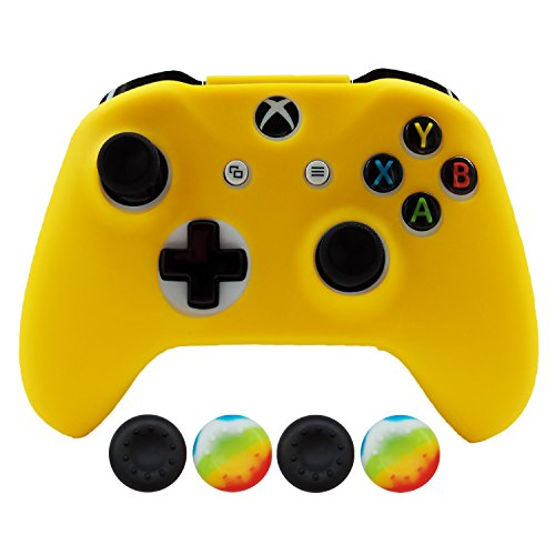 Hikfly Silicona Controlador Cubrir Piel Protector Caso Placas Frontales Kits con 4pcs Thumb Grips Kit para Xbox One S / Xbox One X Controller(Amarillo)