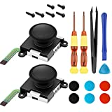 2-Pack 3D Joycon Joystick Replacement,Analog Thumb Stick Joy Con Repair Kit for Nintendo Switch, Include Cross Screwdriver, Pry Tools + 6 Thumbstick Caps