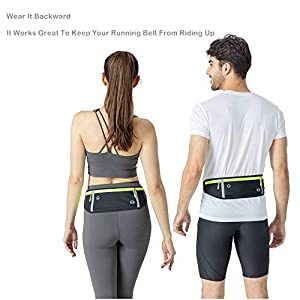 Running-Waist-Belts-with-Headphone-Hole Fits All Phone Under 6.5, Slim Fit Jogging Belt with Three Bounce-Free Zip Pockets, Reflective Strips, Fanny Pack for Workouts, Sports. (Black)