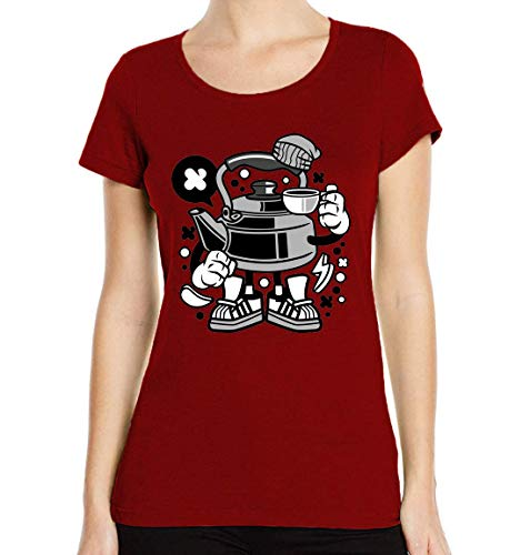 Iprints dames T-shirt Cartoon Style Teapot Tee Time ronde hals